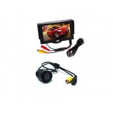 """Tolatókamera szett - TRB_19600831 - 4.3"""" monitor + befúrható, éjjellátó, 170 fokos, köralakú, színes tolatókamera szett"""