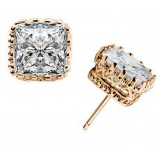 925 ezüst, négyzet alakú, cirkónia, 6mm-es női fülbevaló arany színben