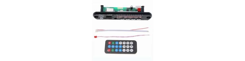 Vezeték nélküli, Bluetooth, TF kártya, USB, 12V MP3 WMA dekóder LCD képernyővel + távirányító