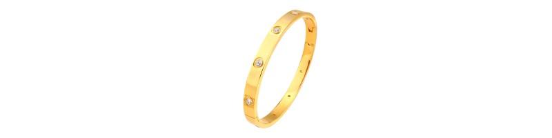 Női karkötő, karperec cirkónia kövekkel 6mm arany színben