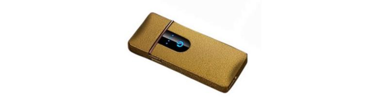 Érintős, USB-s cigaretta öngyújtó, vihargyújtó arany színben