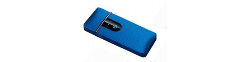 Érintős, USB-s cigaretta öngyújtó, vihargyújtó kék színben