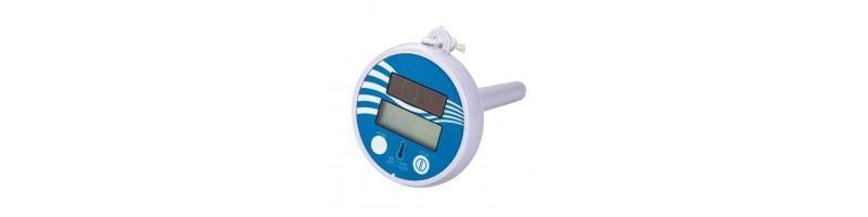 Univerzális, LCD digitális, napelemes hőmérő, vízhőmérő kék-fehér színben