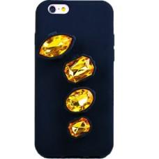 Sárga kövekkel díszített gyűrűs szilikon telefontok iPhone 6/6S/7/8-hoz