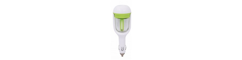 Autós aromaterápiás légtisztító, levegőtisztító, párásító készülék zöld színben