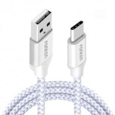 Fonken USB Type C 2.4A töltőkábel Nokia, SONY, LG, Samsung, HTC, Panasonic telefonokhoz fehér színben