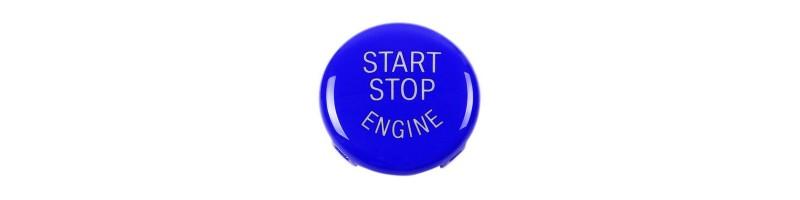Indító gomb, START/STOP gomb dísz, dekor BMW X1, X5, X6, Z4,1, 3, 5, X, E87, E89, E90, E91, E92, E93, E60, E51, E70, E71 kék színben