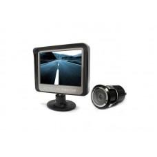 """Vezeték nélküli tolatókamera szett Global SB501: 4.3"""" (collos) monitor + vezetéknélküli (wireless) egység + befúrható, éjjellátó, 170 fokos, köralakú, színes tolatókamera"""
